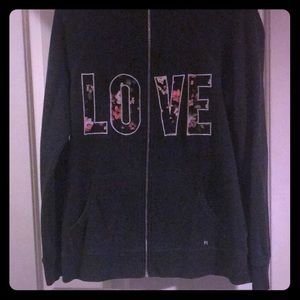 Victoria Secret hoodie charcoal grey with flowers
